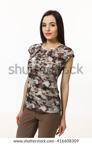 asian eastern brown hair business executive woman with straight hair style in khaki summer t-shirt close up portrait isolated on white - stock photo