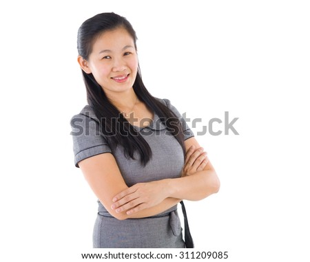 Asian Educational/Business woman on white background - stock photo