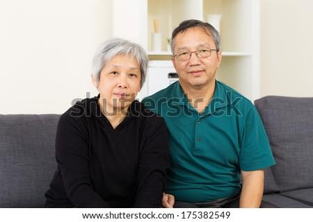 Asian elderly couple - stock photo
