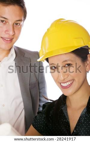 Asian engineer architect  isolated against white background - stock photo