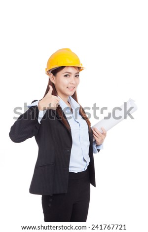 Asian engineer woman thumbs up with blueprints  isolated on white background - stock photo