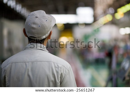 Asian factory worker in uniform - stock photo