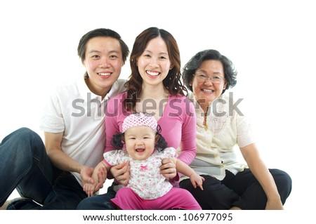 Asian family - stock photo