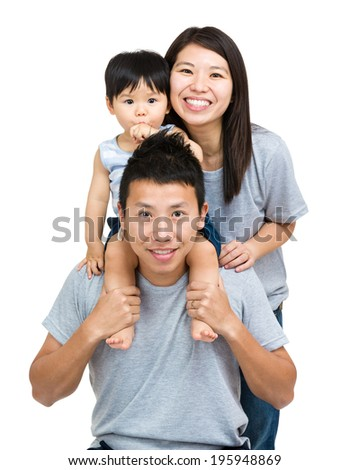 Asian family, baby son and young couple