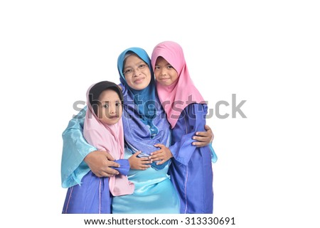 Asian Family concept. a sister touch a future baby. - stock photo