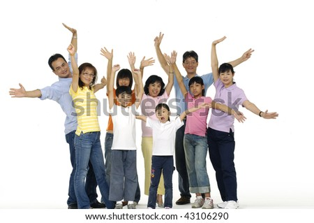 Asian family happy together posing - stock photo