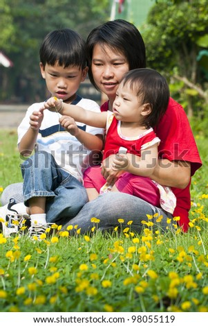 Asian Family in green Lawn