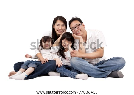asian family isolated on white - stock photo