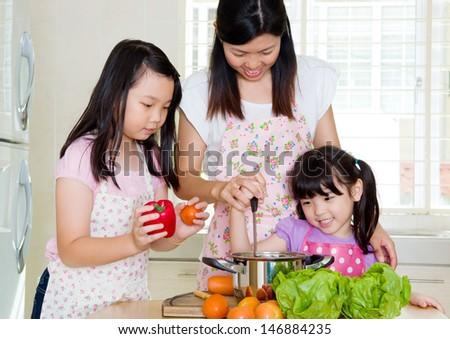 Asian family kitchen lifestyle. - stock photo