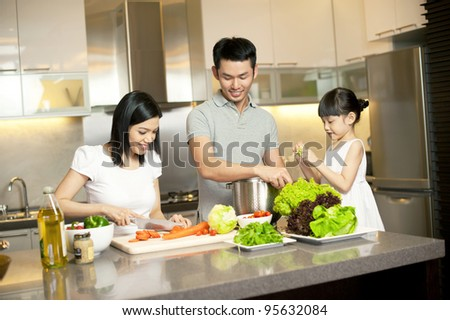 Asian Family Kitchen Lifestyle - stock photo
