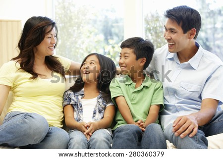Asian family portrait - stock photo