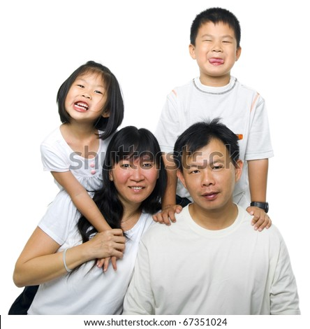 Asian family portrait on white background - stock photo