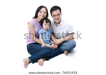 asian family with isolated white background - stock photo