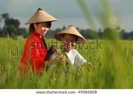 asian farmer - stock photo