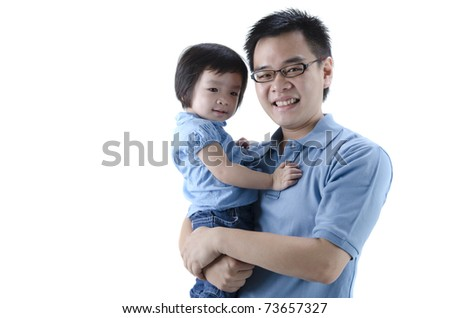 asian father and daugther with white isolated background - stock photo