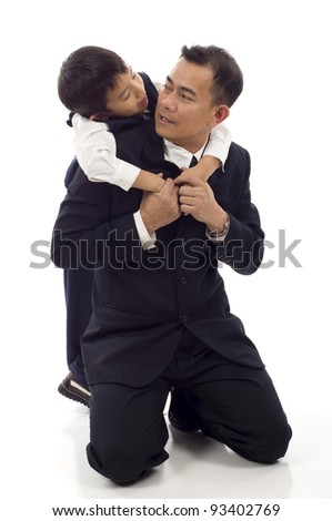 Asian Father and son talking isolated over white background - stock photo