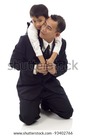 Asian Father talking to his son isolated over white background - stock photo