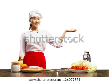 Asian female chef shows up on the place for text