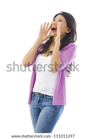 Asian female holding hands beside her cheeks and shouts an announcement.