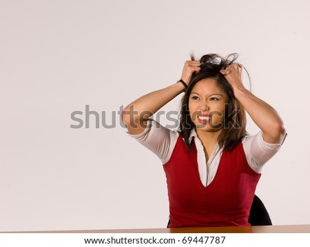 Asian Female Making a facial expression - stock photo