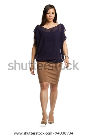 Asian female model stairing at camera isolated background - stock photo