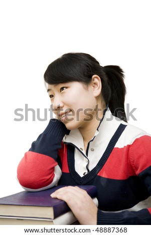 asian female student on white background.