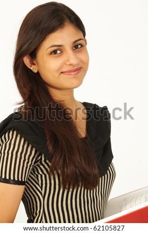 Asian female student over white background - stock photo
