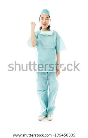 Asian female surgeon punches fist into the air isolated on white background - stock photo