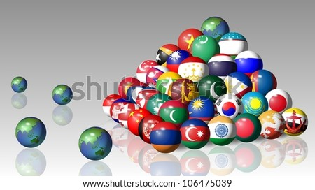Asian flags in a sphere shape forming a pyramid / Asian flags