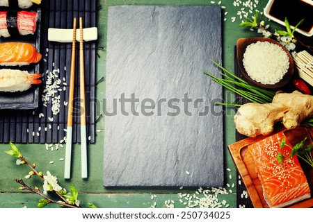 Asian food background (sushi and ingredients) - stock photo