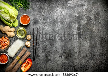 Asian food fresh ingredients cooking chinese stock photo edit now asian food fresh ingredients for cooking chinese food on a rustic background forumfinder Images