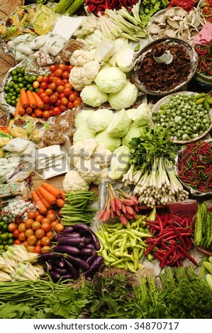Asian fresh vegetables market. - stock photo