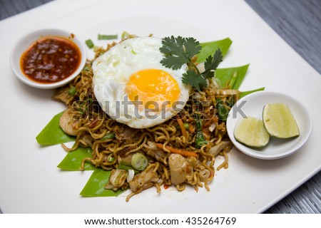 asian fried noodle food