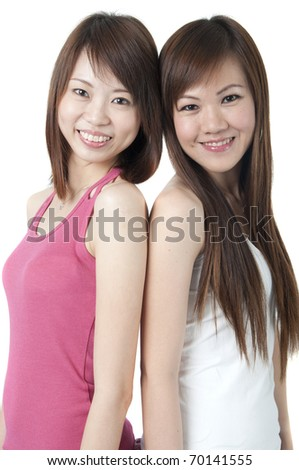 asian friends with isolated white background - stock photo