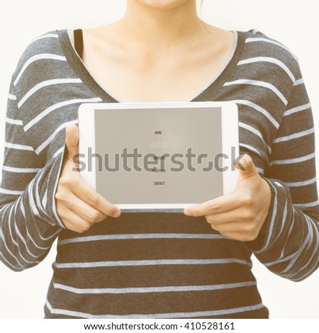 Asian Girl Connection Tablet Smiling Concept - stock photo