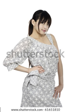 Asian Girl doing fashion pose - stock photo