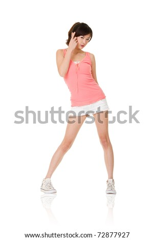 Asian girl, full length portrait isolated on white background. - stock photo