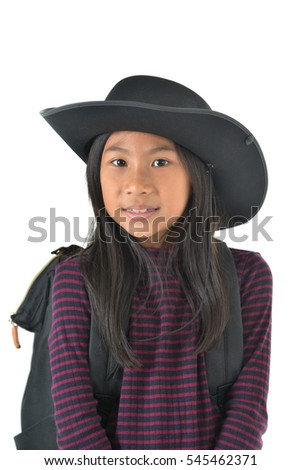 Asian girl in a cowboy hat looking up isolated on white background