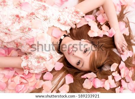 Asian  Girl in flower - stock photo