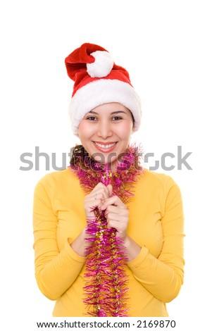 Asian girl in santa's hat - stock photo