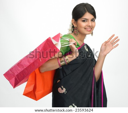 Asian girl in shopping mood posture - stock photo
