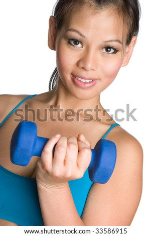 Asian Girl Lifting Weights - stock photo