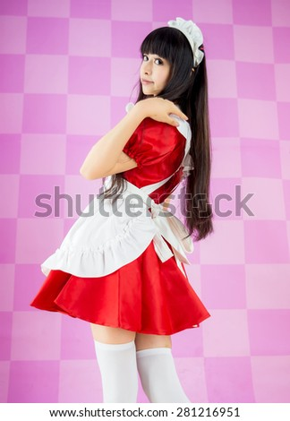 asian girl maid cosplay anime japanese style - stock photo