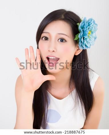 asian girl mode bluel flower on head  korean  fishion style - stock photo