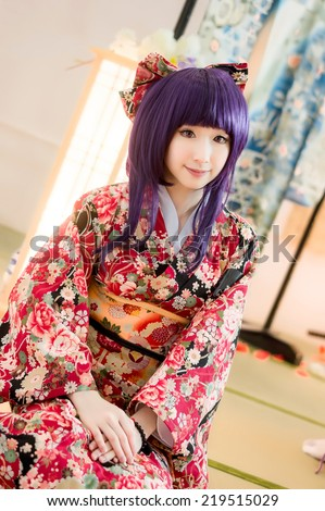 asian girl model cosplay  sakura Washitsu  tatami room - stock photo