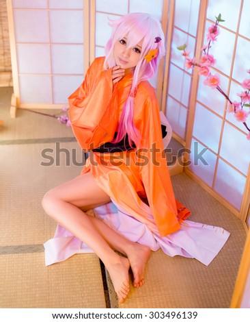 asian girl model Washitsu tatami room cosplay - stock photo