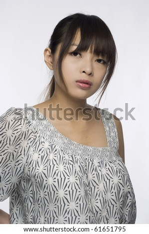 Asian Girl on white background - stock photo