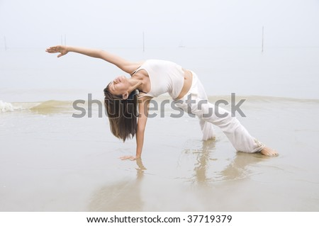 asian girl performing yoga