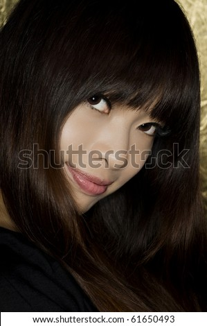 Asian girl portrait close up - stock photo
