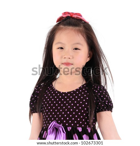 Asian girl Portrait isolated white background